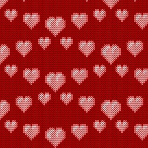08258826 : knit love hearts : red