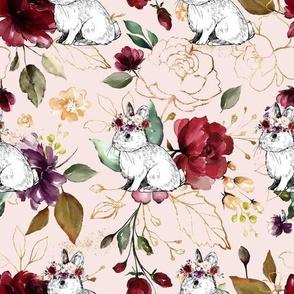 Garden Floral Bunnies Pink