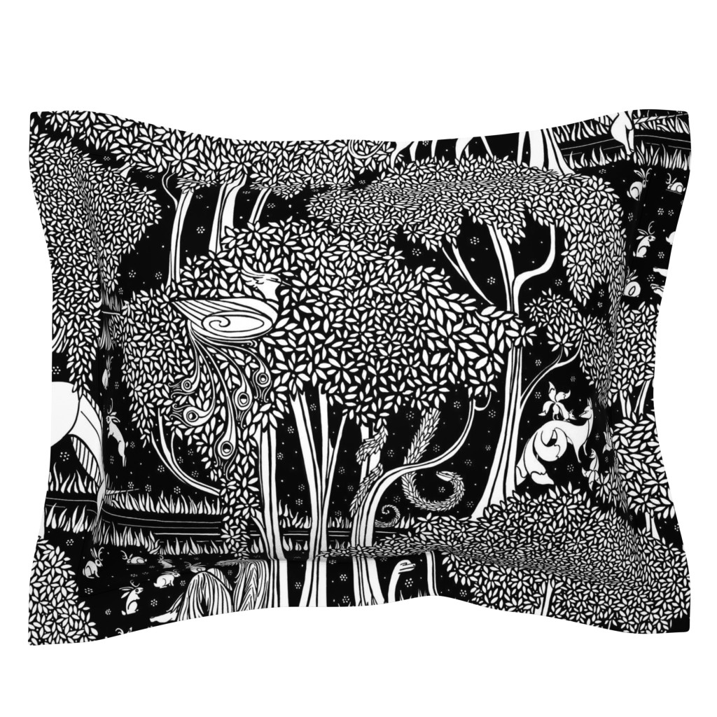 Sebright Pillow Sham featuring The Cryptozoological Park by ceanirminger