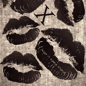 Kiss on distressed linen