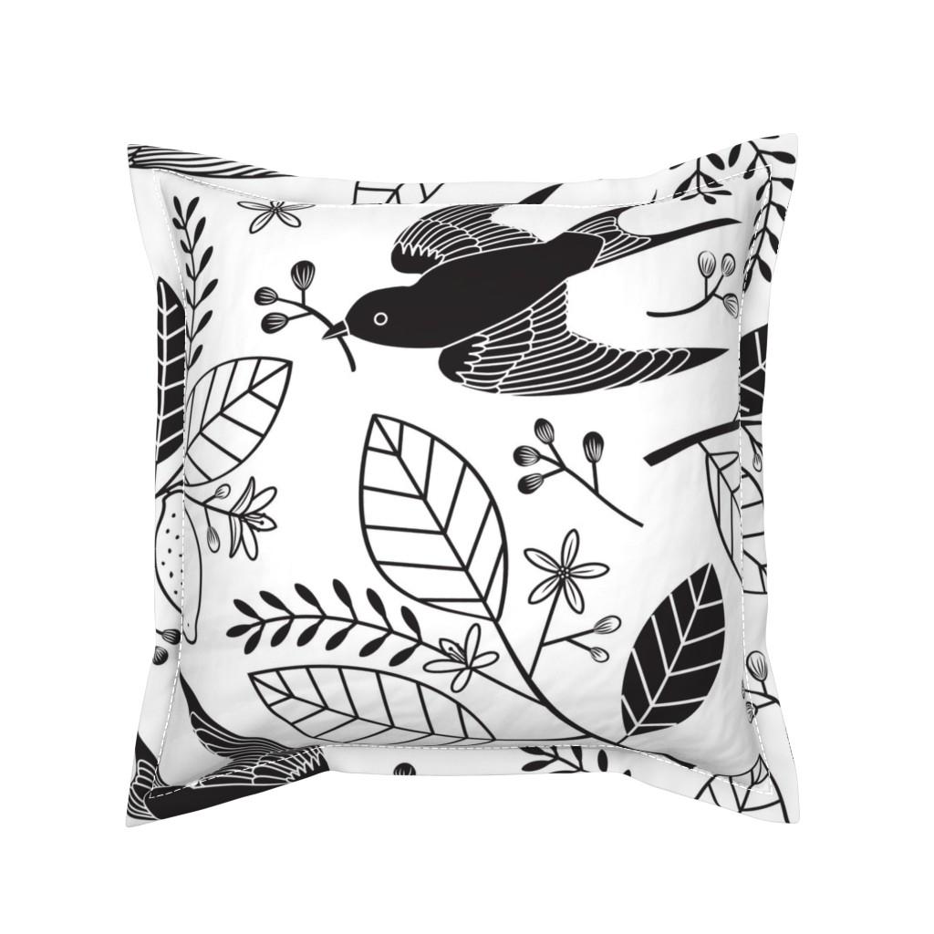 Serama Throw Pillow featuring The Lemon Tree - Black & White by lellobird