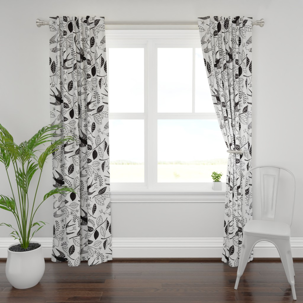 Plymouth Curtain Panel featuring The Lemon Tree - Black & White by lellobird