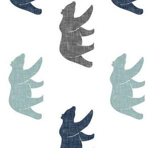 multi bear fabric || navy, dusty blue, grey (90)