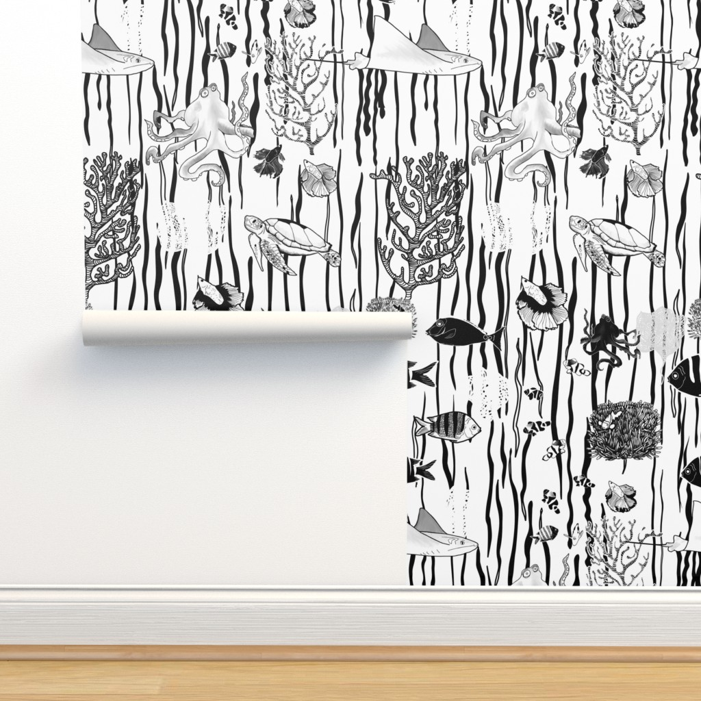 Isobar Durable Wallpaper featuring Large Scale Sea life on white by stasiajahadi