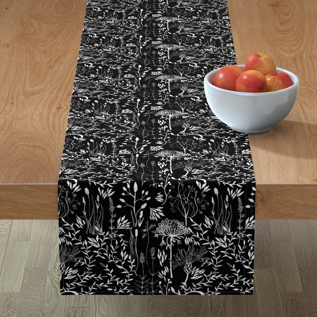 Minorca Table Runner featuring black nature by nici_gabriel_designs