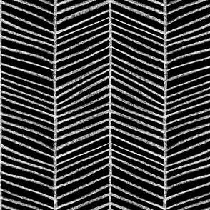 Chevron Sketch White on Black