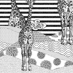 Giraffes B&W (Jumbo Scale)