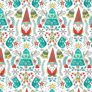 Folk Tomte and Tree Christmas // swedish  scandinavian folk art gnome christmas tree holiday  stocking candy cane holly fabric