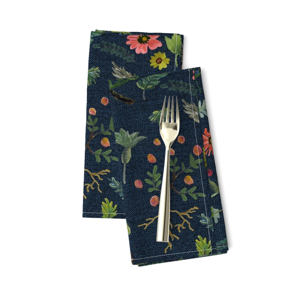 Amarela Dinner Napkins featuring boho botanica - dark denim by cinneworthington