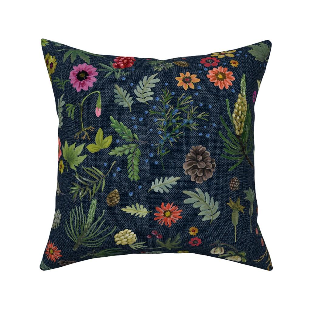 Catalan Throw Pillow featuring boho botanica - dark denim by cinneworthington