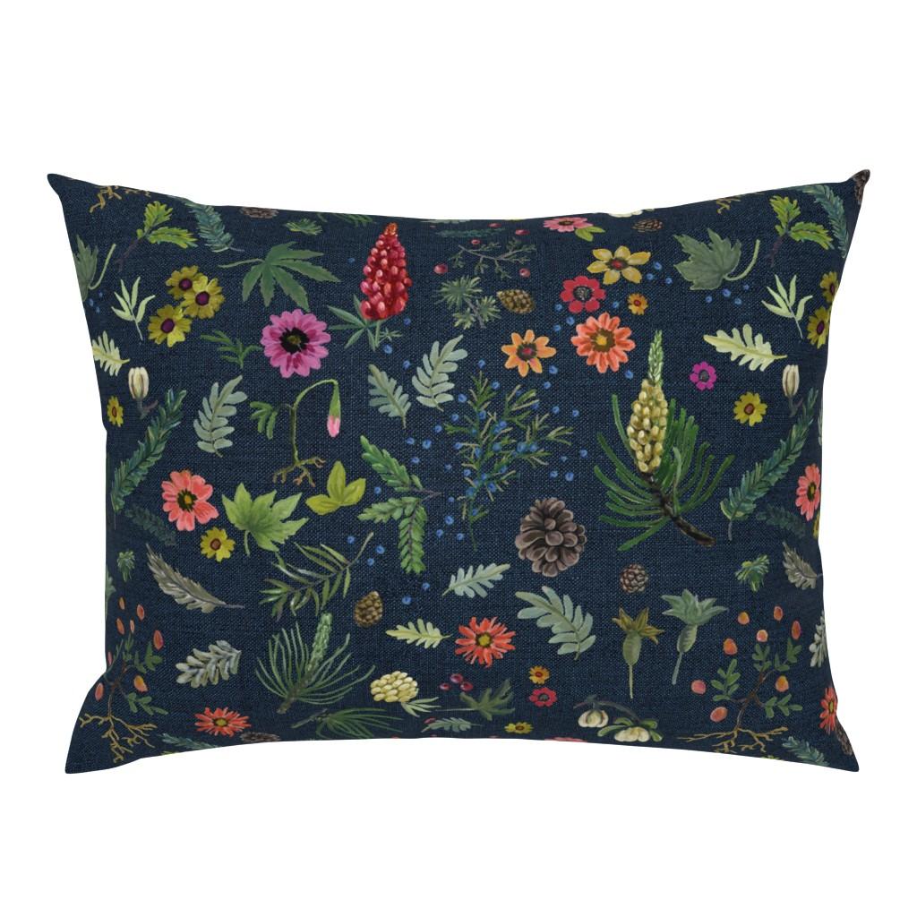 Campine Pillow Sham featuring boho botanica - dark denim by cinneworthington