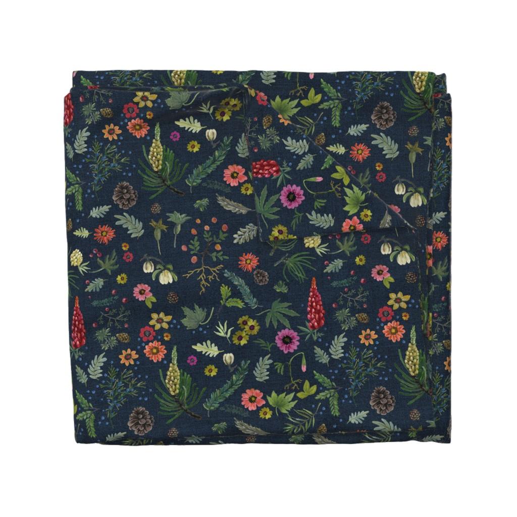 Wyandotte Duvet Cover featuring boho botanica - dark denim by cinneworthington