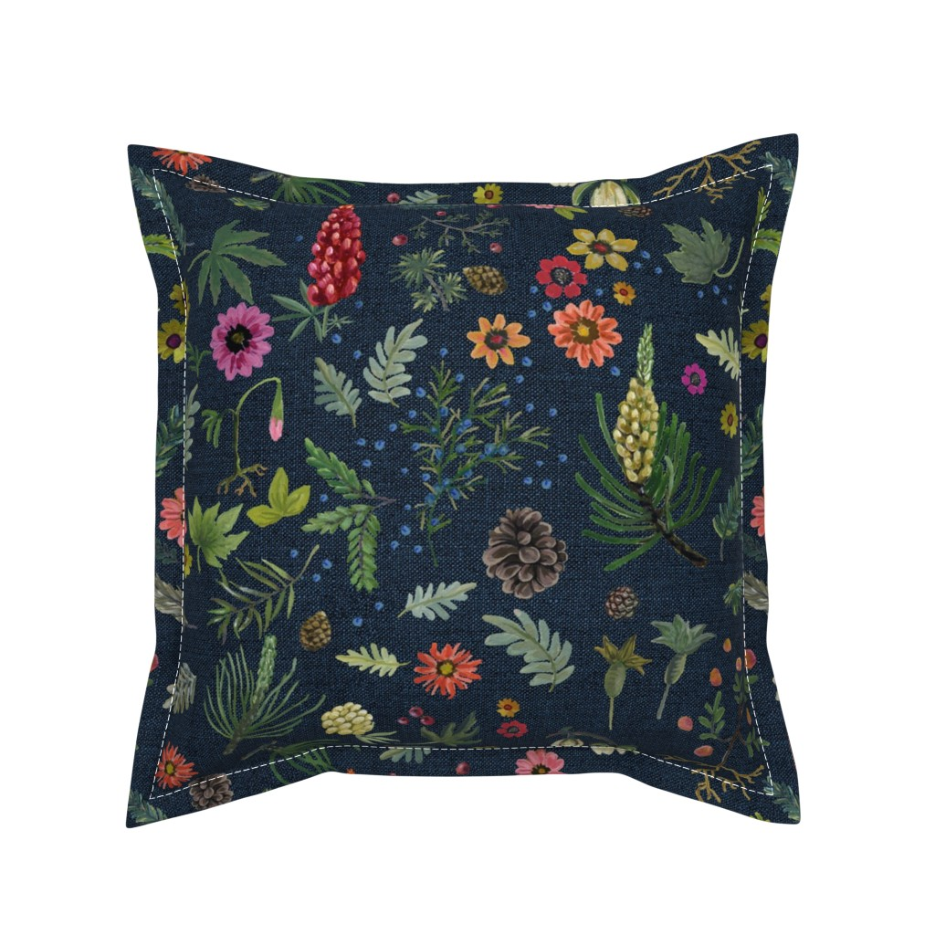 Serama Throw Pillow featuring boho botanica - dark denim by cinneworthington