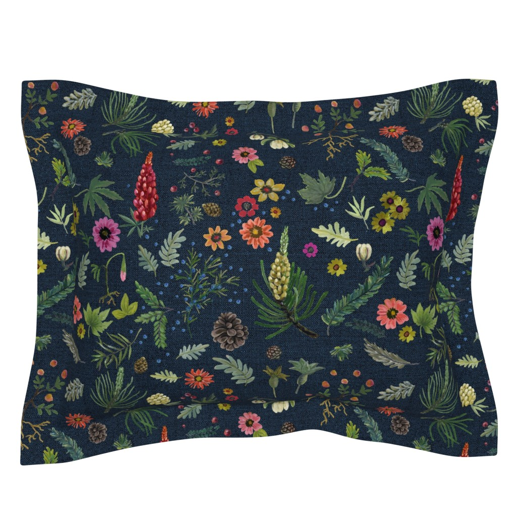 Sebright Pillow Sham featuring boho botanica - dark denim by cinneworthington