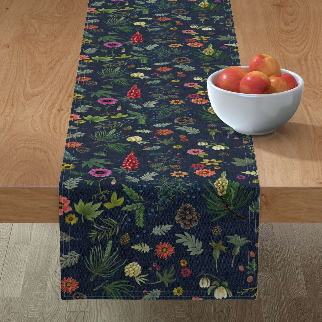 Minorca Table Runner featuring boho botanica - dark denim by cinneworthington