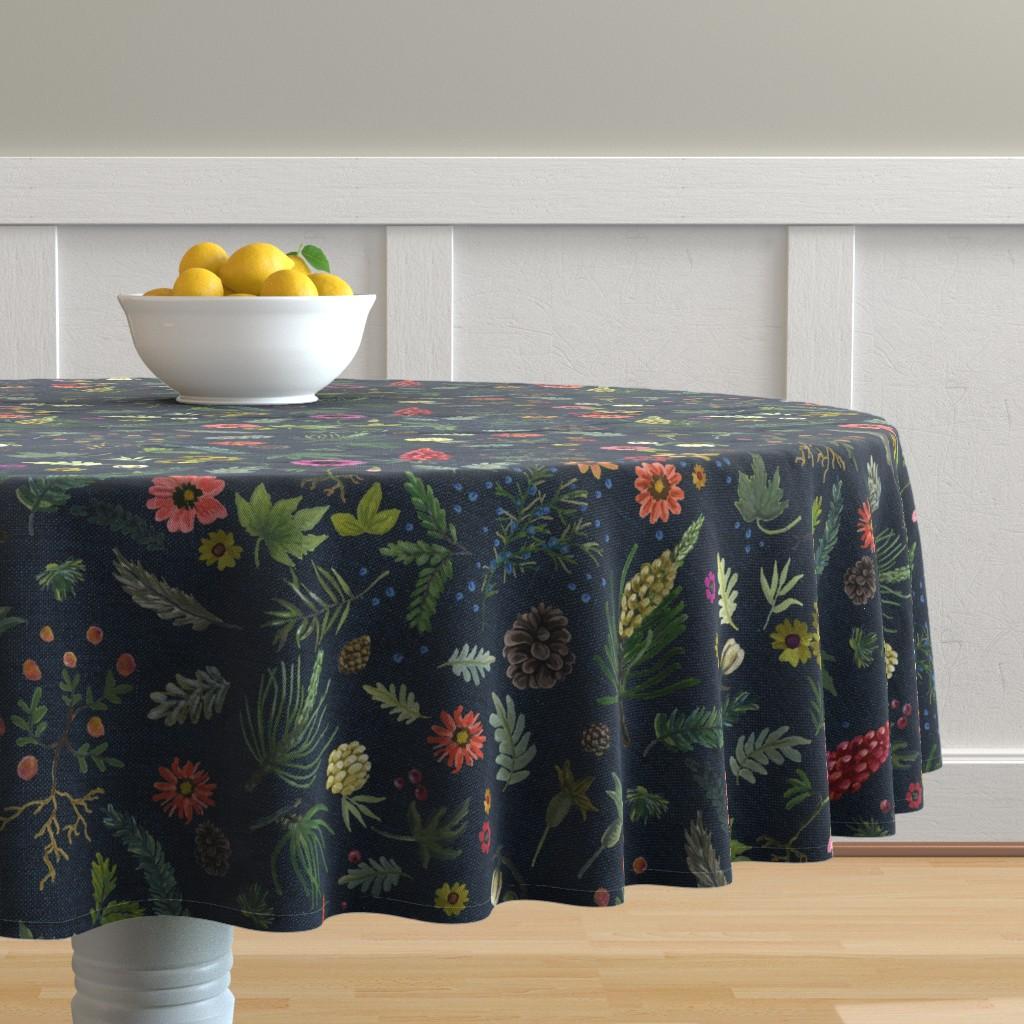 Malay Round Tablecloth featuring boho botanica - dark denim by cinneworthington