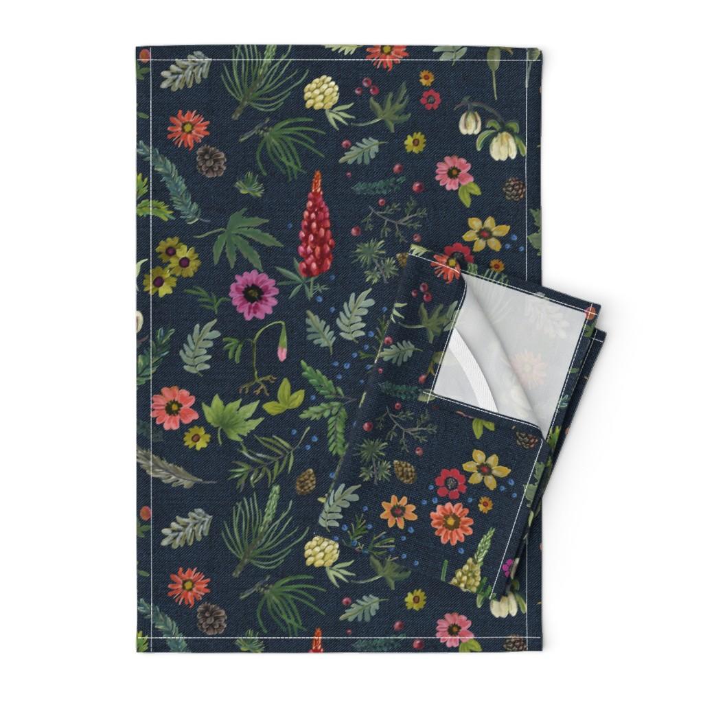 Orpington Tea Towels featuring boho botanica - dark denim by cinneworthington