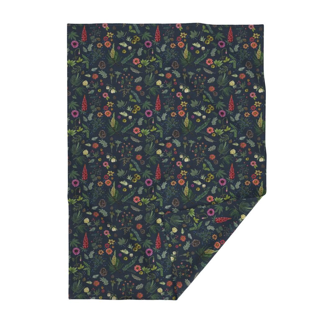 Lakenvelder Throw Blanket featuring boho botanica - dark denim by cinneworthington