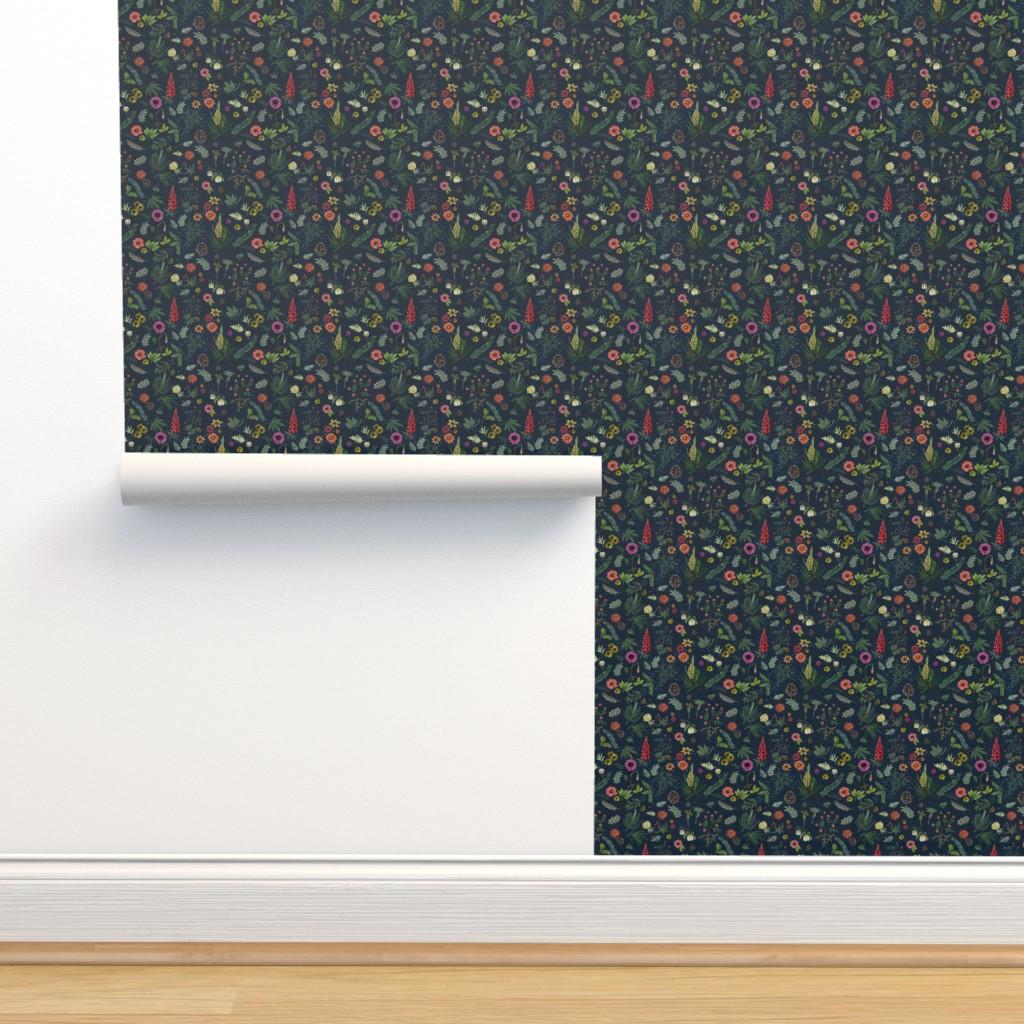 Isobar Durable Wallpaper featuring boho botanica - dark denim by cinneworthington