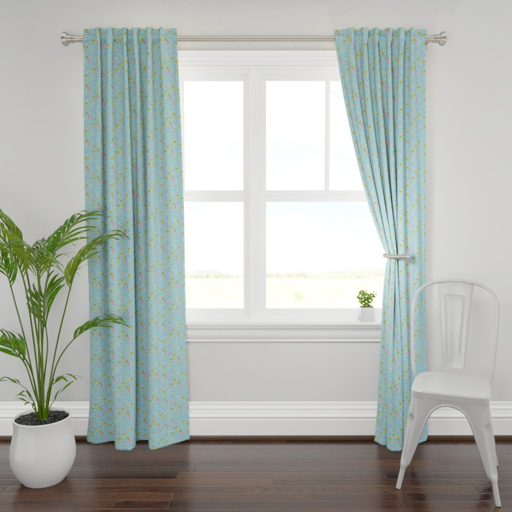 Plymouth Curtain Panel featuring Pastel Aliens on Blue by noeldraws
