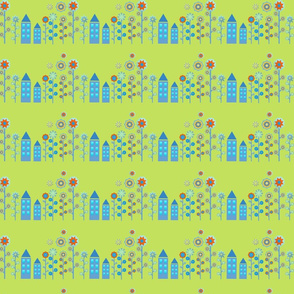 Scandy House with modern  flower print
