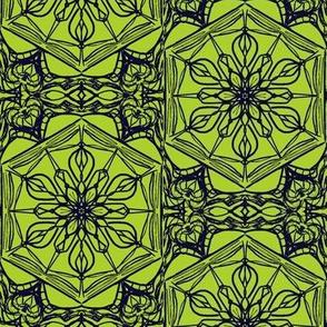 Nouveau Floral Leadlight of Blackberry on Fresh Lime
