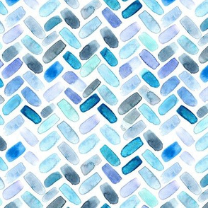 Watercolor herringbone in blue || chevron pattern