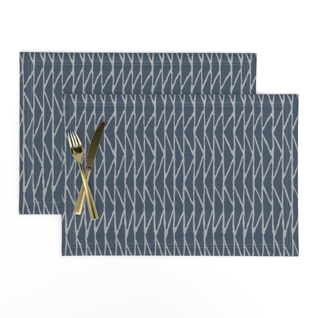Lamona Cloth Placemats featuring TRIANGLE - Slate Blue by hitomikimura