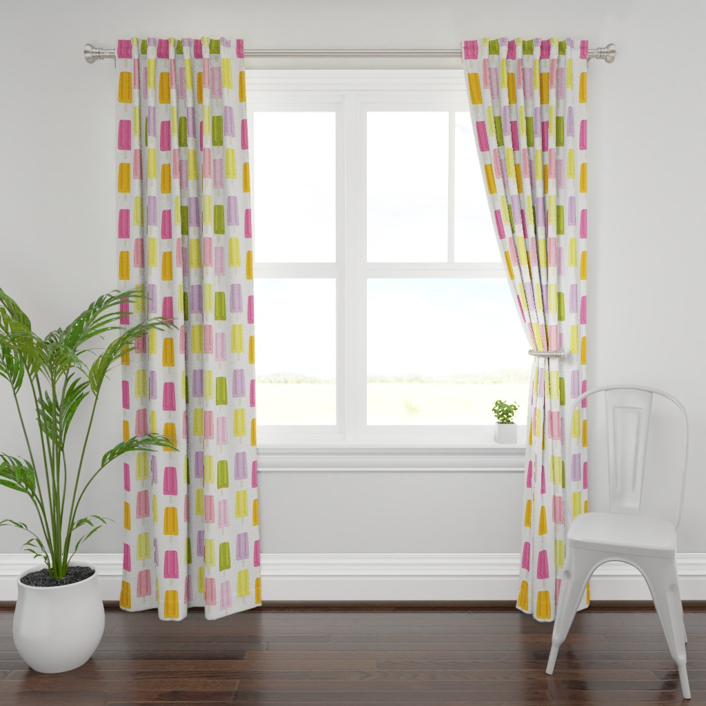 Plymouth Curtain Panel featuring Popsicles Paletas by quietly_fiery