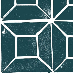 Geometric lino  print - 'dark harbour'