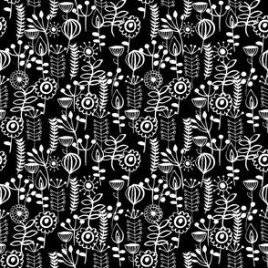 scandi vertical leaves white on black