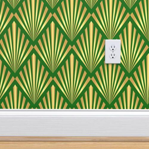 Wallpaper Gold Art Deco Fans On Green