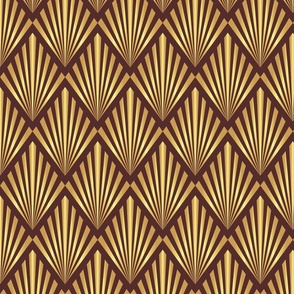 Gold art deco fans on brown Wallpaper fabric