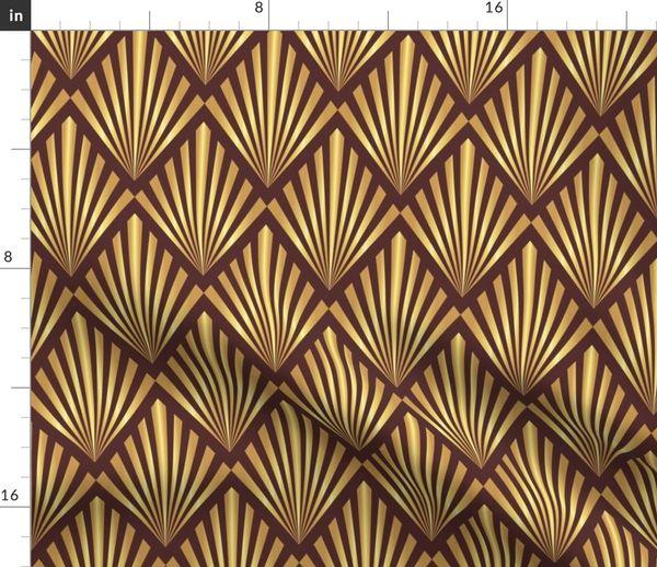 8267838 gold art deco fans on brown by danadu