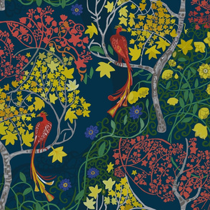 Naive garden  trees and phoenix_ Dark Blue, Yellow, Red