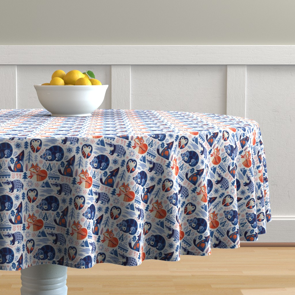 Malay Round Tablecloth featuring Winter dreams by penguinhouse