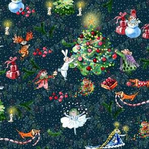 Deco Christmass tree family navy blue