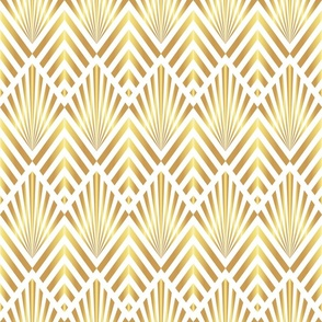 Gold art deco diamonds on white Wallpaper fabric