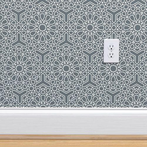 Wallpaper Islamic Geometric Pattern Lace On Grey