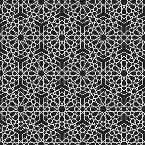 Simple islamic geometric pattern on black