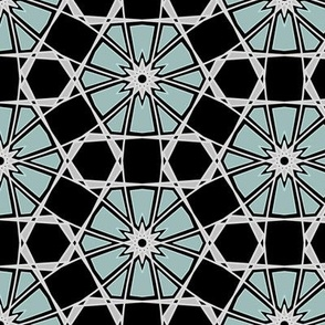 Hexagonal Silver & Cyan Art Deco Inspired Geometric Modern Art Deco