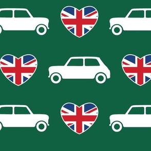Mini Cooper Hearts - Union Jack Green - Large