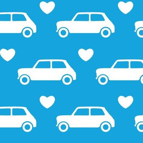 Mini Cooper Hearts - Bright Blue - Large