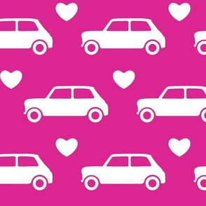 Mini Cooper Hearts - Bright Pink - Large