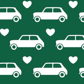 Mini Cooper Hearts - Dark Green - Large