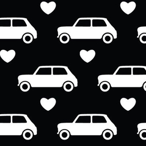 Mini Cooper Hearts - Black - Large
