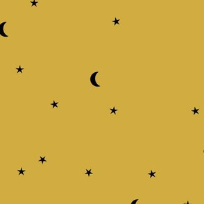 Dreamy night counting stars under the moon woodland camping trip yellow ochre summer winter