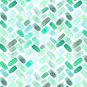 Emerald herringbone || watercolor chevron brush stroke pattern