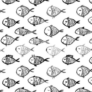 Swimming to Maldives || black and white scandi fish pattern