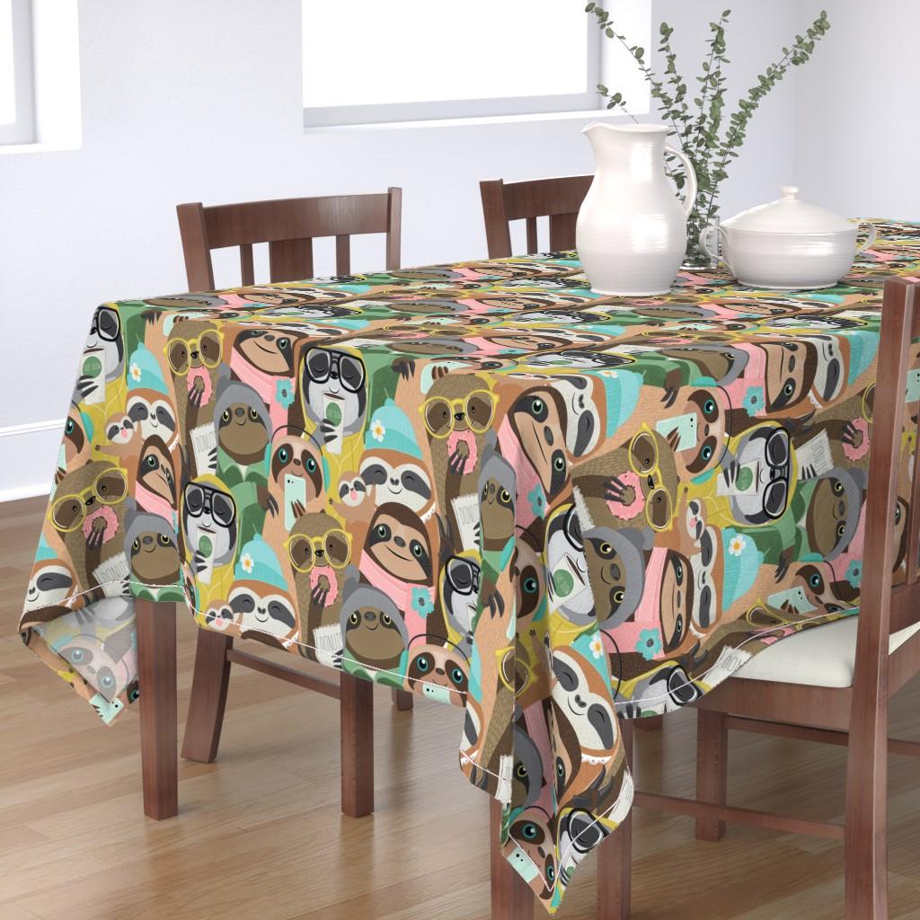 Bantam Rectangular Tablecloth featuring big city sloths by michaelzindell